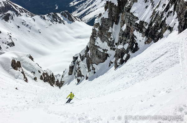 Pete Gaston skiing the Ridge of Gendarmes
