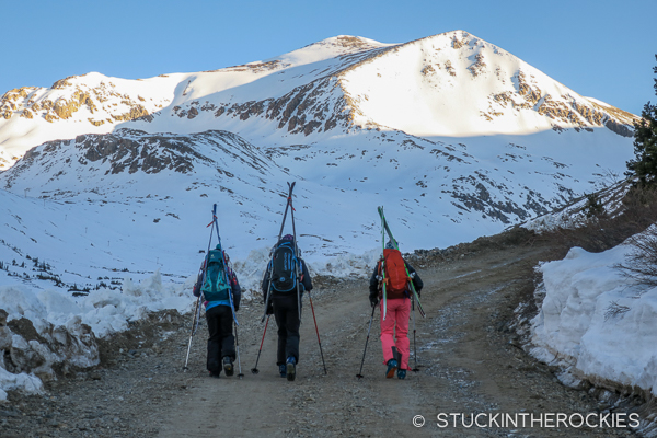 Walking the Kite Lake Road towards Mount Democrat