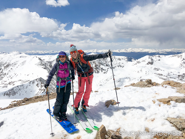 Christy Mahon and Elsie Weiss on the summit of Mount Democrat
