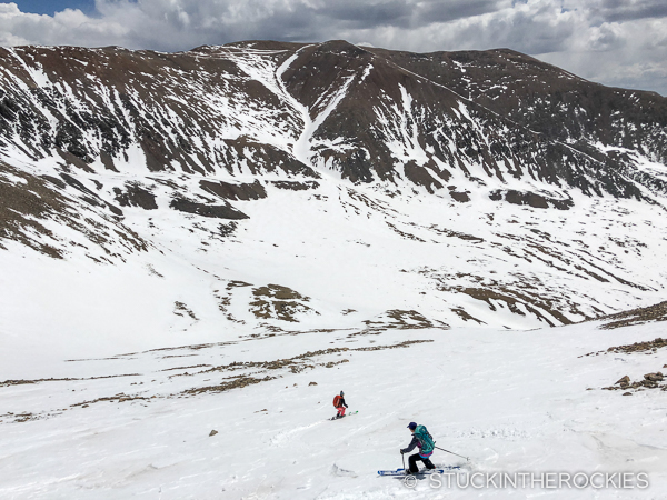 Christy Mahon skiing the East Slopes of Mount Democrat