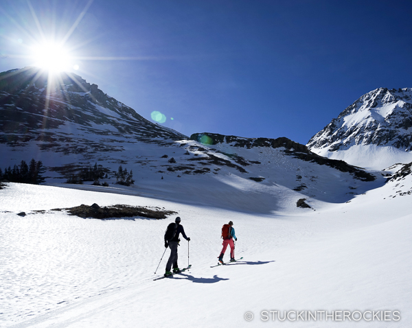 Christy Mahon and Joey Giampaolo skinning up to Niagara Peak