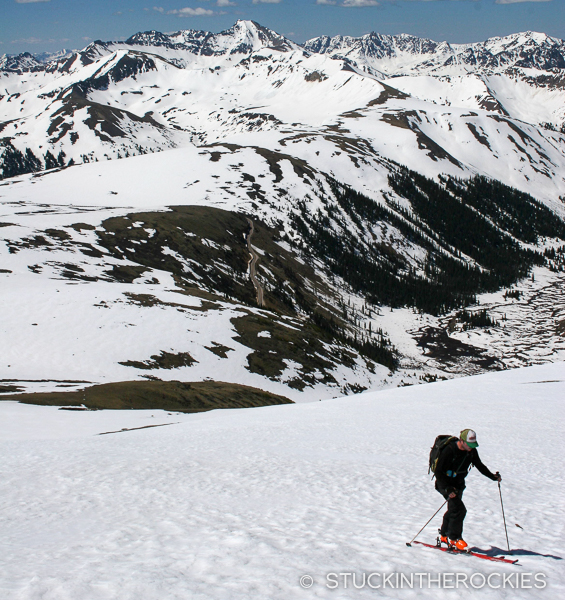 Tim Mutrie ascends Twining Peak near Independence Pass
