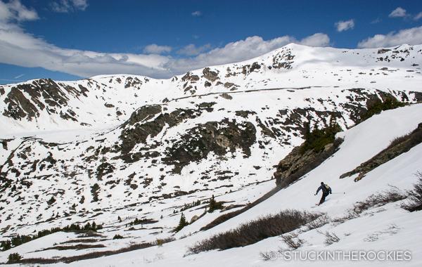 Skiiing twining Peak back down to the Upper Lost Man Trailhead