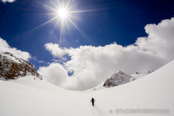 Skinning up to Christiana Peak