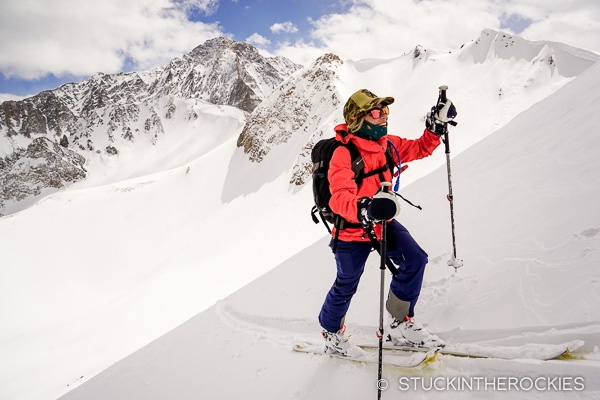 Christy Mahon skinning high on Christiana Peak.