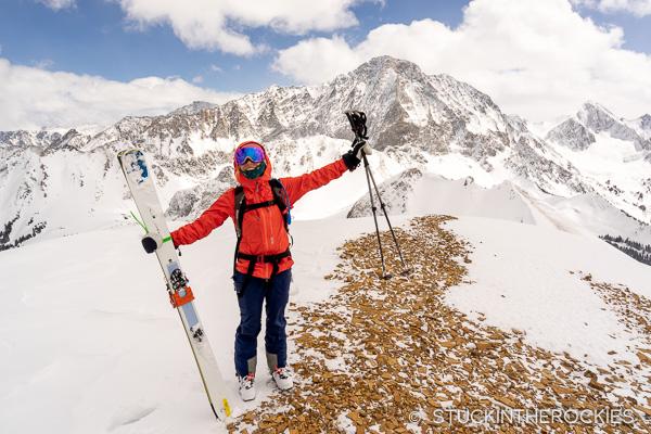 Christy Mahon on the summit of Christiana Peak
