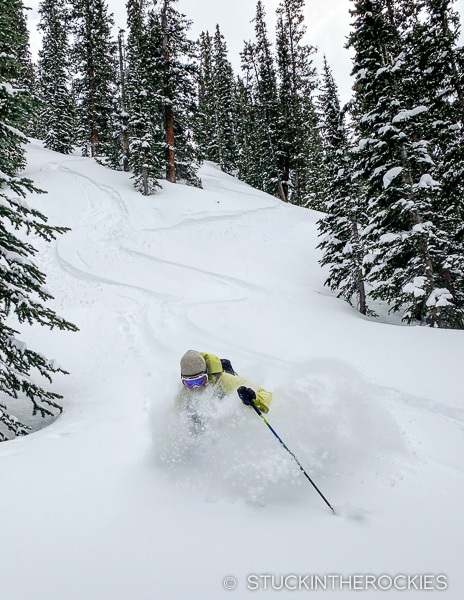 Ted Mahon skis powder in Capitol Creek Valley