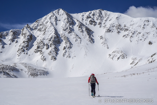 Christy Mahon approaching the North Face of Sayres Benchmark, 13,738 ft..