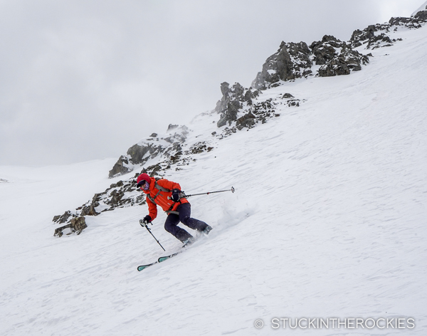 Skiing the Grand Central Couloir on Sayres Benchmark