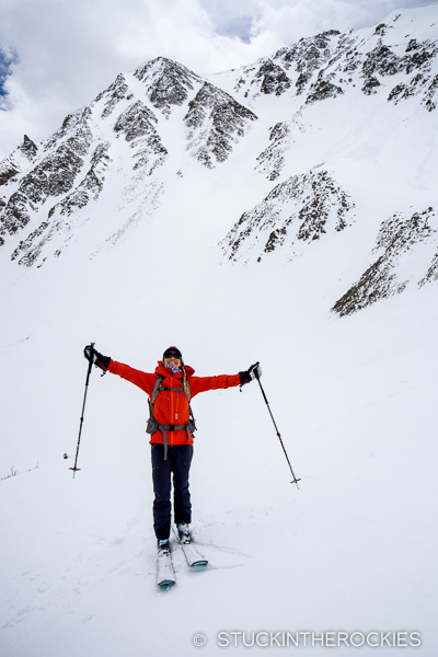 Off the mountain, you can see the couloir.