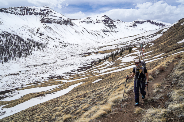 Christy Mahon hiking the CDT back to the pass.